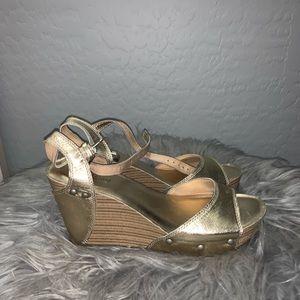 Luckybrand gold wedge heels
